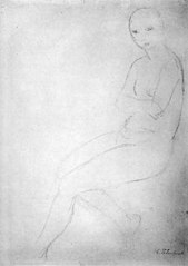 Seated Nude Model, Facing Left