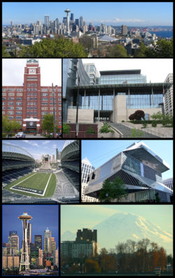 În sensul acelor de ceasornic: Centrul orașului Seattle de la nord, City Hall, Central Library, Mount Rainier, Space Needle, Qwest Field și Sediul Companiei Starbucks Coffee