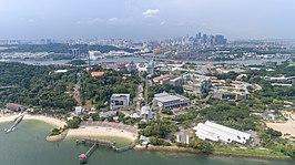 Singapore met Sentosa op de voorgrond