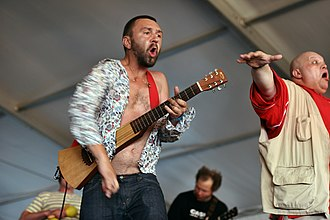 Leningrad (band) - Leningrad performing in 2007. Shnurov (left) and Baretsky