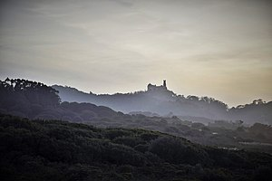 Sintra Mountains - Landscape of the Sintra Mountains (Serra de Sintra). The Pena Palace, which is visible in the image, is close to the peak of the mountain, named Cruz Alta (high Cross).