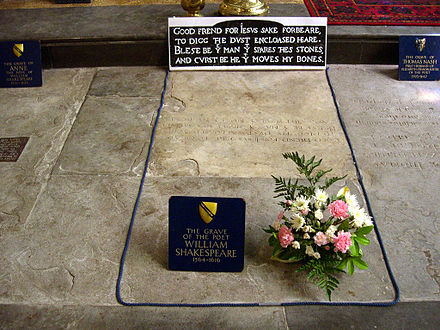 Shakespeare's grave, next to those of Anne Shakespeare, his wife, and Thomas Nash, the husband of his granddaughter Shakespeare grave -Stratford-upon-Avon -3June2007.jpg
