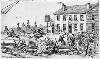 Upper Canada - Drawing showing the fatal shooting of Col. Robert Moodie outside John Montgomery's tavern in Toronto on December 4, 1837.