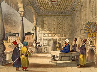 Kabul - Shujah Shah Durrani, the last Durrani King, sitting at his court inside the Bala Hissar