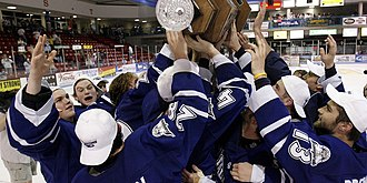 Sioux Falls Stampede - Stampede players hoisting the franchise's first Clark Cup trophy for winning the 2006–07 Clark Cup playoffs.