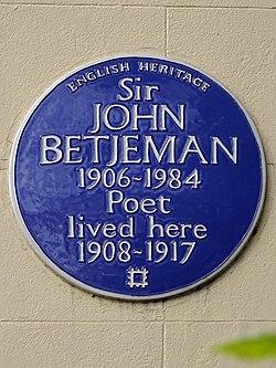 Sir john betjeman blue plaque
