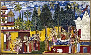 Flora of the Indian epic period - Sita at Ashokavana under Ashoka tree (Saraca asoca) in epic Ramayana. Hanuman is seen on the tree.