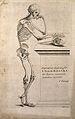 Skeleton leaning on a spade. Line engraving by J. Tinney, af Wellcome V0008021EL.jpg