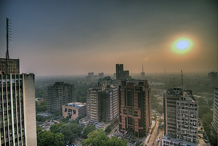 Dense smog blankets Connaught Place, New Delhi. Smog in the skies of Delhi, India.jpg