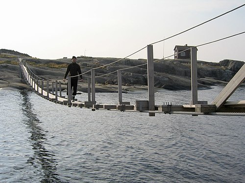 Simple suspension bridges are essentially thickened cables, and follow a catenary curve. Soderskar-bridge.jpg