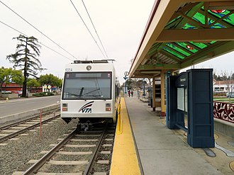Berryessa station (VTA) - Southbound VTA train at Berryessa station in March 2018