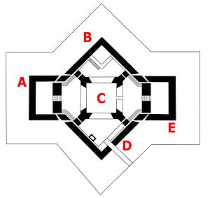 Southsea Castle - The castle from a 1577 plan; A - east gun platform; B - south bastion; C - keep; D - north bastion and bridge; E - west gun platform