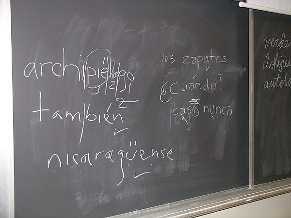 "Blackboard used in a university classroom shows students' efforts at placing ""u"" and acute accent diacritic used in Spanish orthography. Spanish orthography.jpg"