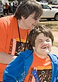 Special Olympic athletes and volunteers get ready for race, prior to the start of Special Olympics events, on Fort Gordon, Ga., Mar 100324-A-NF756-013.jpg