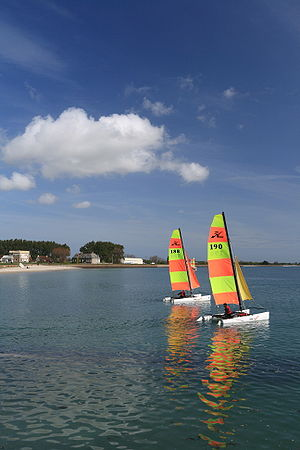 Hobie Cat - Two Hobie cats sailing in St Vaast, Normandy, France