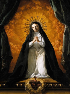 St Margaret Mary Alacoque Contemplating the Sacred Heart of Jesus.png