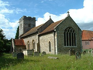 Grade I listed buildings in St Edmundsbury - Image: St Peter's Church, Ampton, Suffolk, from the southeast