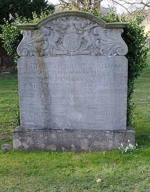Victor Cavendish, 9th Duke of Devonshire - St Peter's Churchyard, Edensor - grave of Victor Cavendish, 9th Duke of Devonshire KG, GCMG, GCVO, TD, PC (1868–1938)