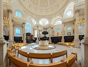 St Stephen Walbrook - The present arrangement of the interior with the altar by Henry Moore.