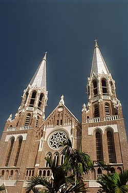 Saint Mary's Cathedral, Yangon at the corner of Bo Aung Kyaw Road