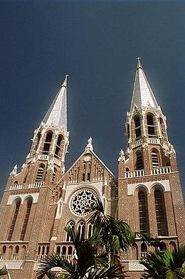 Saint Mary's Cathedral, Yangon at the corner of Bo Aung Kyaw Road