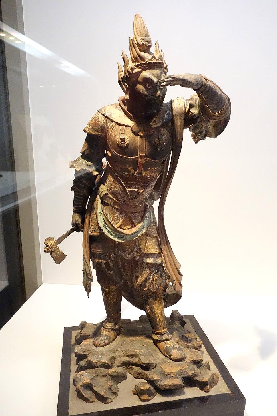 Standing Junishinsho (Twelve Heavenly Generals) - Jutsushin (Dog General), Kamakura period, 13th century, wood with polychromy, cut gold leaf, and inlaid crystal eyes - Tokyo National Museum - DSC05352