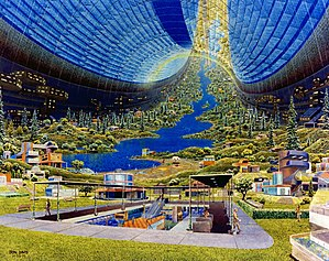 L5 Society - Artist's conception of a space habitat called the Stanford torus, by Don Davis.