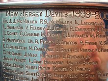 "A section of the Stanley Cup engravings headlined ""New Jersey Devils 1999–2000""."