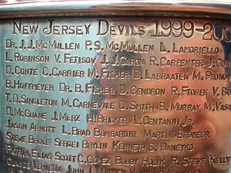 New Jersey Devils - Image: Stanley Cup Devs 1999 00Engraved