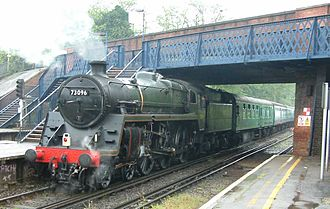 BR Standard Class 5 73096 - Image: Steam locomotive 73096 at Virginia Water station 280404