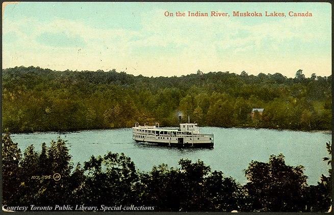 Steamship on Indian River Muskoka Lakes