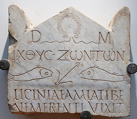 This funerary stele from the 3rd century is among the earliest Christian inscriptions, written in both Greek and Latin: the abbreviation D.M. at the top refers to the Di Manes, the traditional Roman spirits of the dead, but accompanies Christian fish symbolism. Stele Licinia Amias Terme 67646.jpg