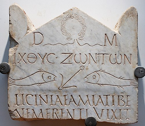 "Funerary stele of Licinia Amias on marble, in the National Roman Museum. One of the earliest Christian inscriptions found, it comes from the early 3rd-century Vatican necropolis area in Rome. It contains the text IKhThU[?] ZONTON (""fish of the living""), a predecessor of the Ichthys symbol. Stele Licinia Amias Terme 67646.jpg"