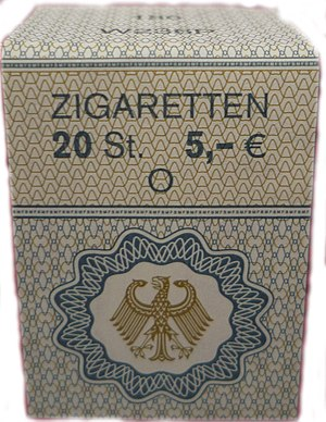 Smoking in Germany - 2014: 5,00 Euros for 20 cigarettes