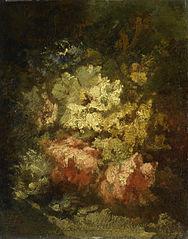 Stilleven met witte en rode rozen