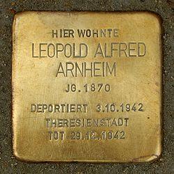Photo of Leopold Alfred Arnheim brass plaque