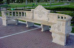 Bench (furniture) - Stone bench in Parque de Bateria in Torremolinos, Spain