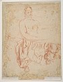 Study for a Raising of Lazarus (recto); half length study of bearded nude male figure, and a man and woman with donkey (verso) MET DP811498.jpg
