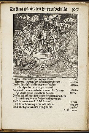 Ship of Fools (satire) - Ship of Fools (Stultifera Navis) was translated into Latin in 1497; some of the woodcuts illustrating the manuscript may have been created by Albrecht Dürer. The University of Edinburgh holds a copy of the Latin edition.