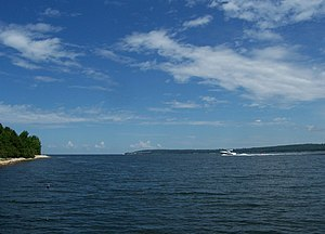 Sturgeon Bay - Looking northeast at the mouth of Sturgeon Bay