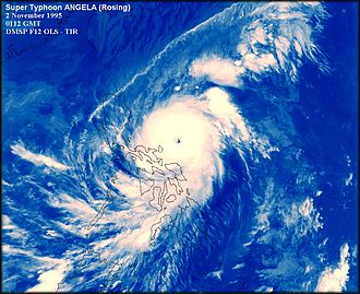 Typhoon Angela - Angela to the east of the Philippines