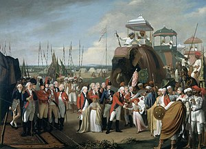 General Lord Cornwallis receiving Tipoo Sultan...