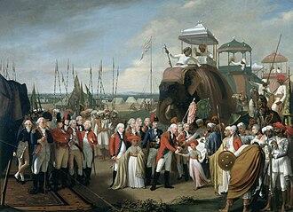 Cornwallis in India - General Lord Cornwallis receiving Tipu Sultan's sons as hostages, by Robert Home, c. 1793