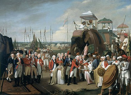 General Lord Cornwallis, receiving two of Tipu Sultan's sons as hostages in the year 1793 Surrender of Tipu Sultan.jpg