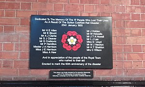 Sutton Coldfield rail crash - Memorial at Sutton Coldfield station to the victims of the crash