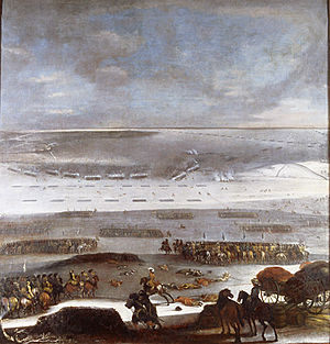 March Across the Belts - The Swedish troops cross the ice to Zealand, 1658: painting by Johan Philip Lemke  (1631–1711)