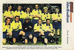 Sveriges lag i segermatchen mot Italien i VM 1950. bde692395f544