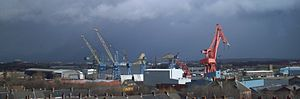 Manufacturing in the United Kingdom - Swan Hunter shipyards in North Tyneside seen in 2007 shortly after closure.