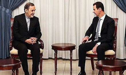 Bashar al-Assad meets with Iran's representative on Syrian affairs, Ali Akbar Velayati, 6 May 2016 Syrian President Bashar al-Assad meets Iran's special representative on Syrian affairs Ali Akbar Velayati.jpg