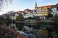 Tübingen - Neckarfront - Hölderlinturm und Stiftskirche mit Reiher - quer.jpg